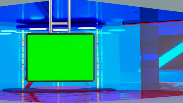 virtual tv news broadcast studio set background - green screen background stock photos and pictures