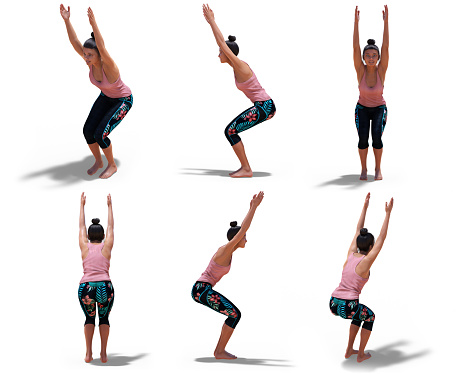 virtual woman in yoga chair pose with 6 angles of view