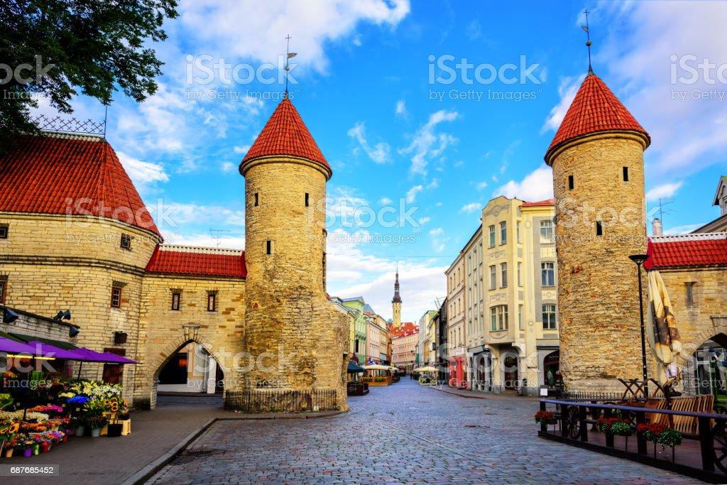 Viru Gate, old town of Tallinn, Estonia stock photo