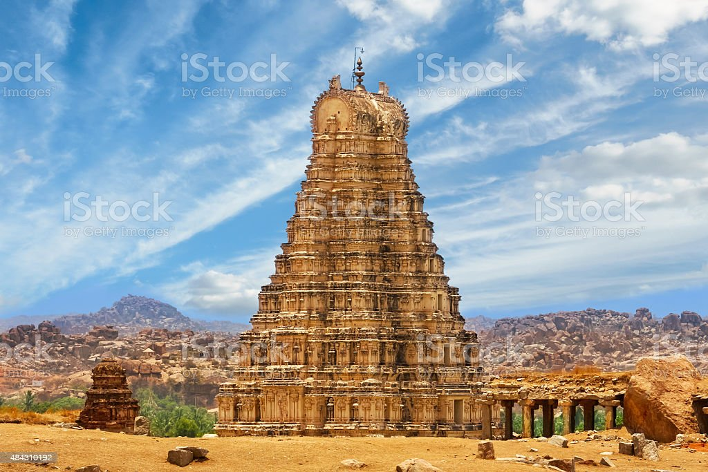 Virupaksha Temple Hampi India Photo of the landmark Virupaksha Temple also known as Pampapathi Temple in Hampi, Karnataka state, southern India. It is part of the Group of Monuments at Hampi, designated a UNESCO World Heritage Site. 2015 Stock Photo