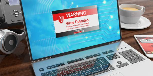 alerte de virus sur un écran d'ordinateur. illustration 3d - logiciel espion photos et images de collection