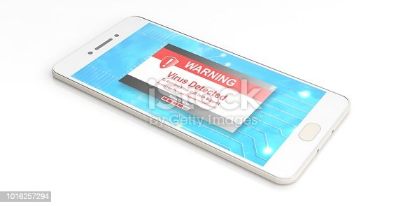 istock Virus alert on a smartphone screen. 3d illustration 1016257294