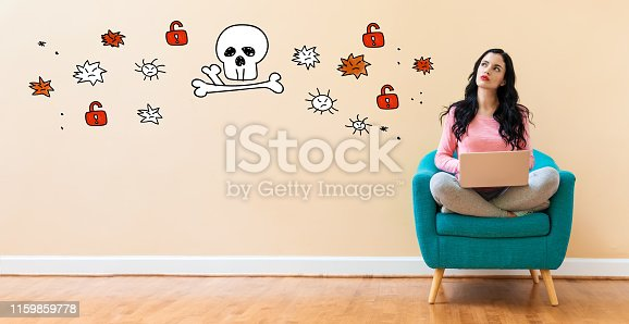 istock Virus and scam theme with woman using a laptop 1159859778