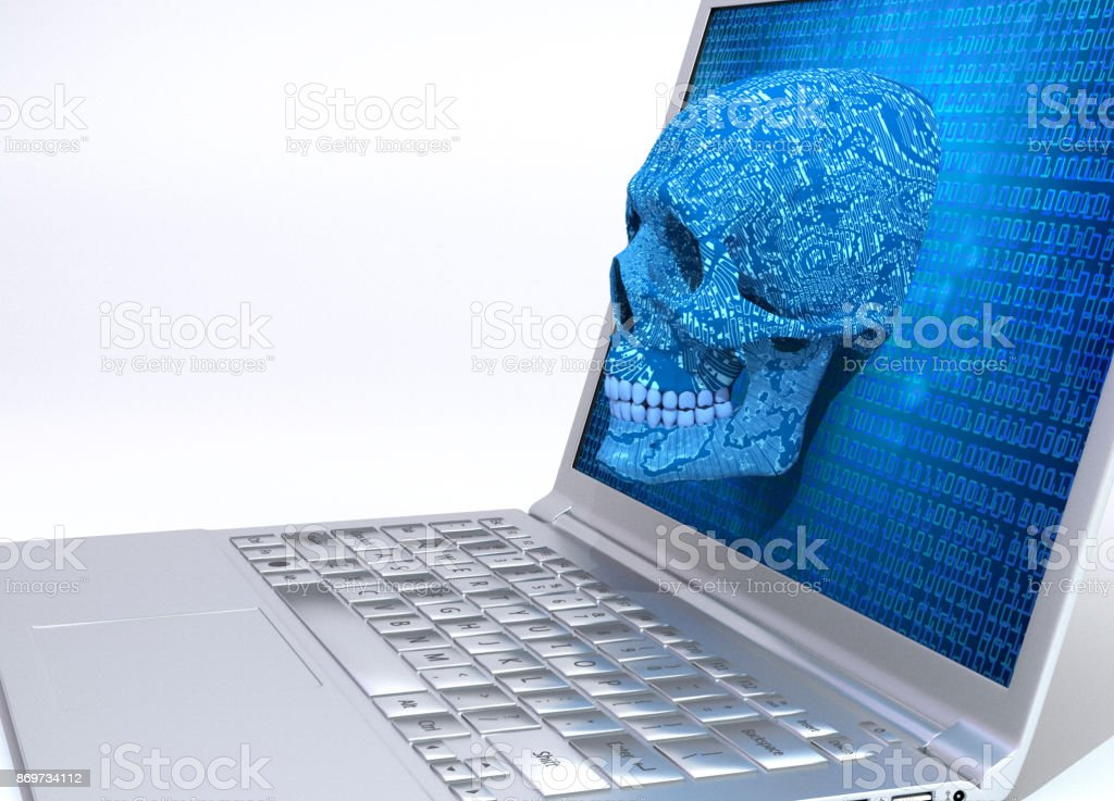 Virus at a computer or smart phone stock photo