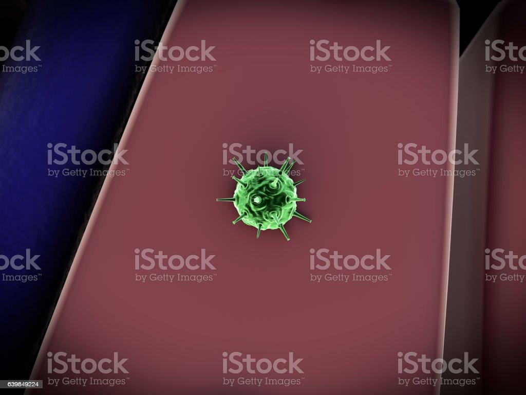 virus atack the cells stock photo