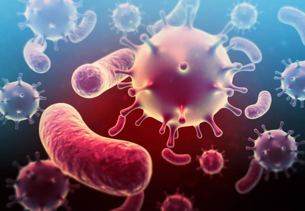 Virus ,bacteria in blood stock photo