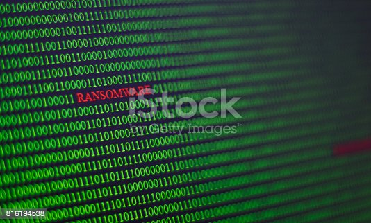 istock virus code in computer unsecured system. 816194538