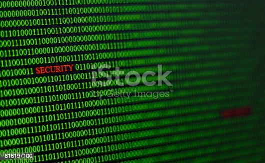 812847754 istock photo virus code in computer unsecured system. 816197100