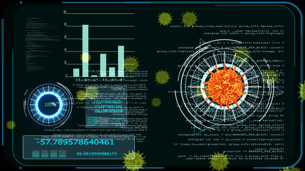 virus covid 19 digital graph analysis to find vaccine and medicine stock photo