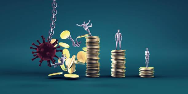 Virus Crashing into World Economy stock photo