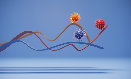The graphs of different colored viruses. (3d render)