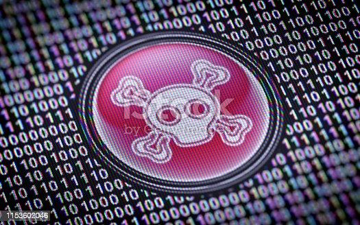 istock Virus icon on the screen. 1153602046