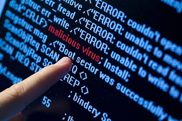 virus in program code - virus stock photos and pictures