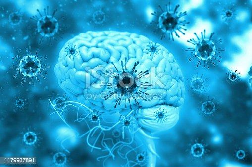 istock Virus infection on brain 1179937891