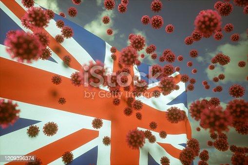 Pneumonia coronavirus covid-19 and British flag illustration