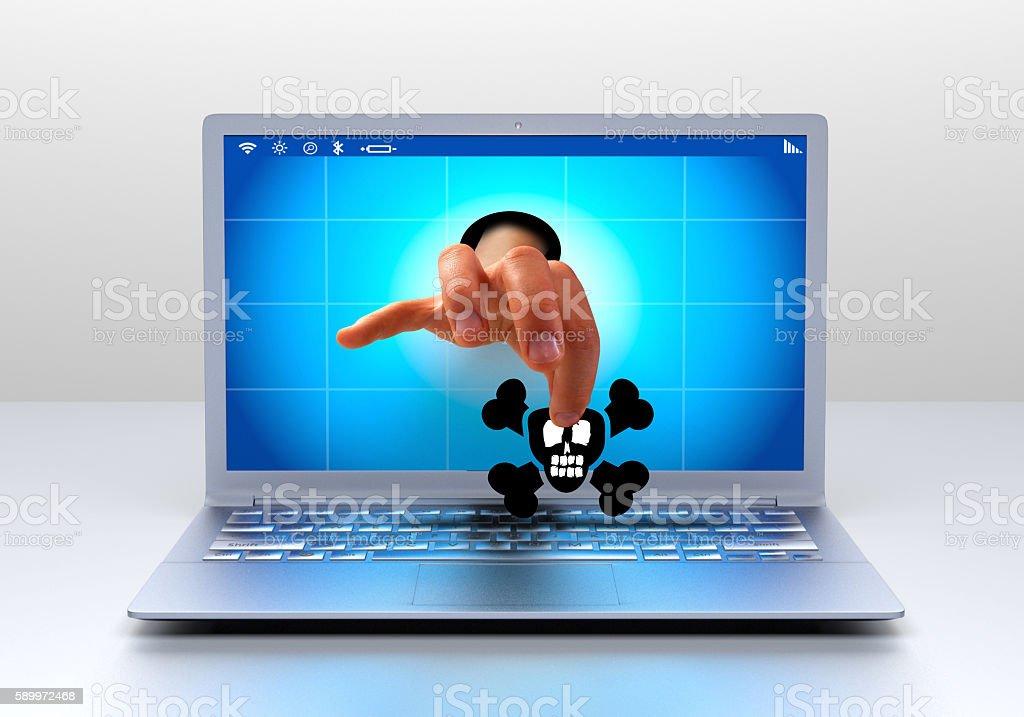 Virus on computer stock photo