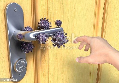 3D illustration of Virus on doorknob image