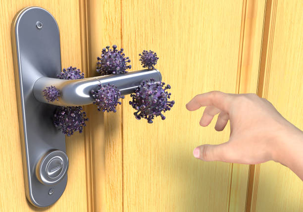 virus on doorknob - patogeno foto e immagini stock