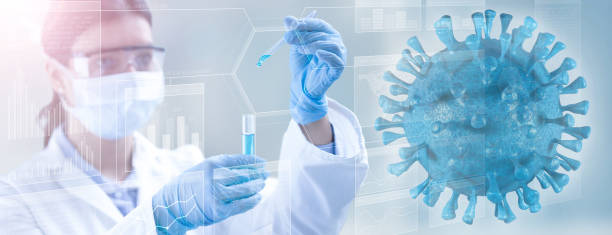 virus sampling for microbiologic examination stock photo