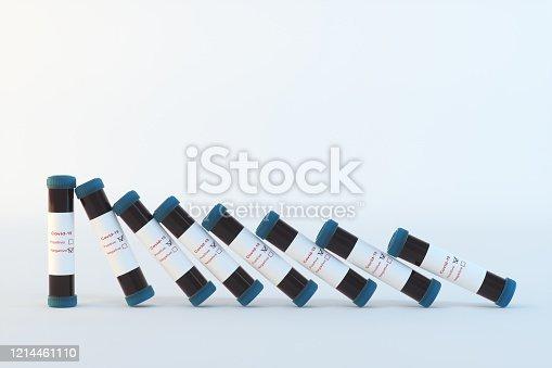 Covid-19 vaccine with domino concepts.