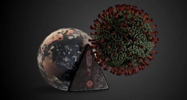 Virus verbreiten Warnzeichen und Planet Erde Globus 3d-Illustration. Elemente dieses Bildes, die von der NASA – Foto