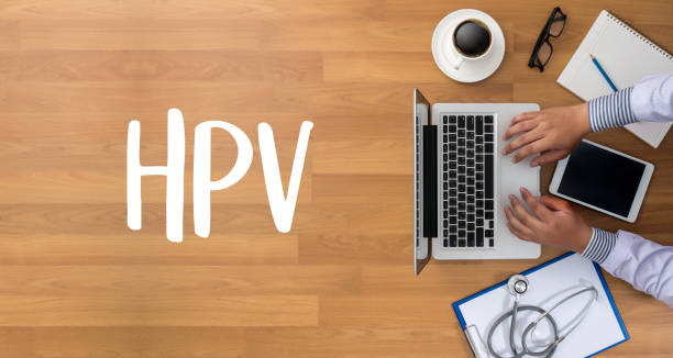 hpv concept virus vaccine with syringe hpv criteria for pap smear slide cytology. - cytology stock pictures, royalty-free photos & images