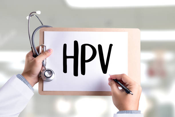 HPV CONCEPT Virus vaccine with syringe HPV criteria for pap smear slide cytology. HPV CONCEPT Virus vaccine with syringe HPV criteria for pap smear slide cytology. human papilloma virus stock pictures, royalty-free photos & images