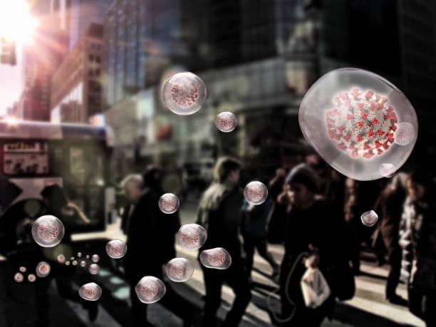 viruses spreading around people stock photo