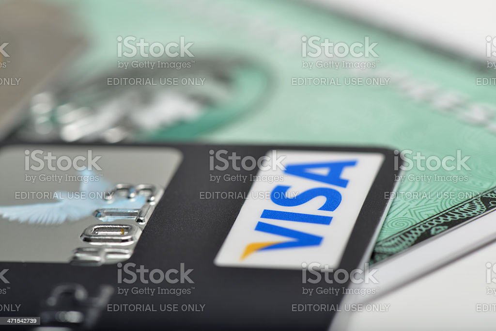 Visa and American Express Credit Cards stock photo