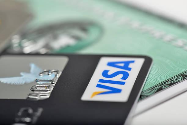 Visa and American Express Credit Cards stock photo