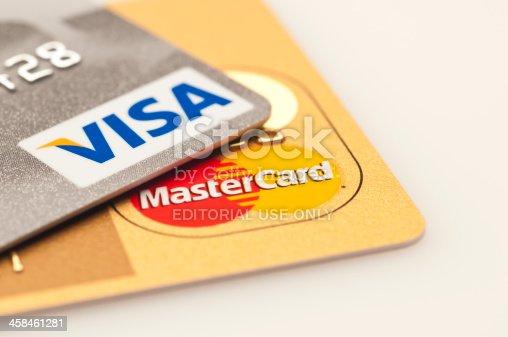 Caracas, Venezuela - July 22, 2011: Visa and Mastercard logos on platinum and golden credit cards
