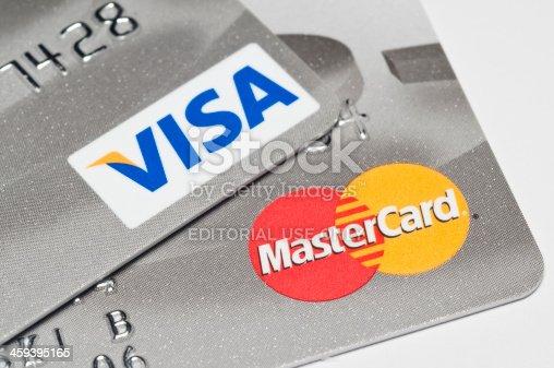 Caracas, Venezuela - January 18, 2012: Visa and Mastercard logos on platinum credit cards