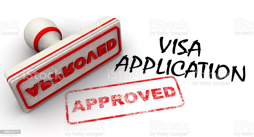 Visa application approved. Seal and imprint stock photo