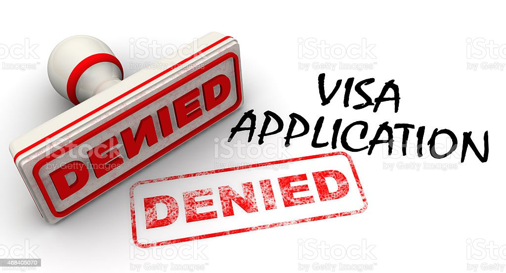 Visa application denied. Seal and imprint stock photo