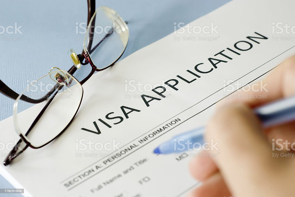 visa application form stock photo