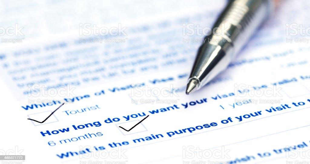 Visa application form foto de stock royalty-free