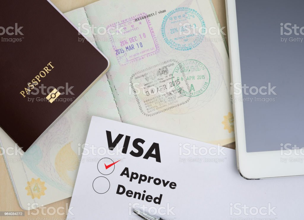 Visa application form to travel Immigration a document Money for Passport Map and travel plan - Royalty-free Business Stock Photo