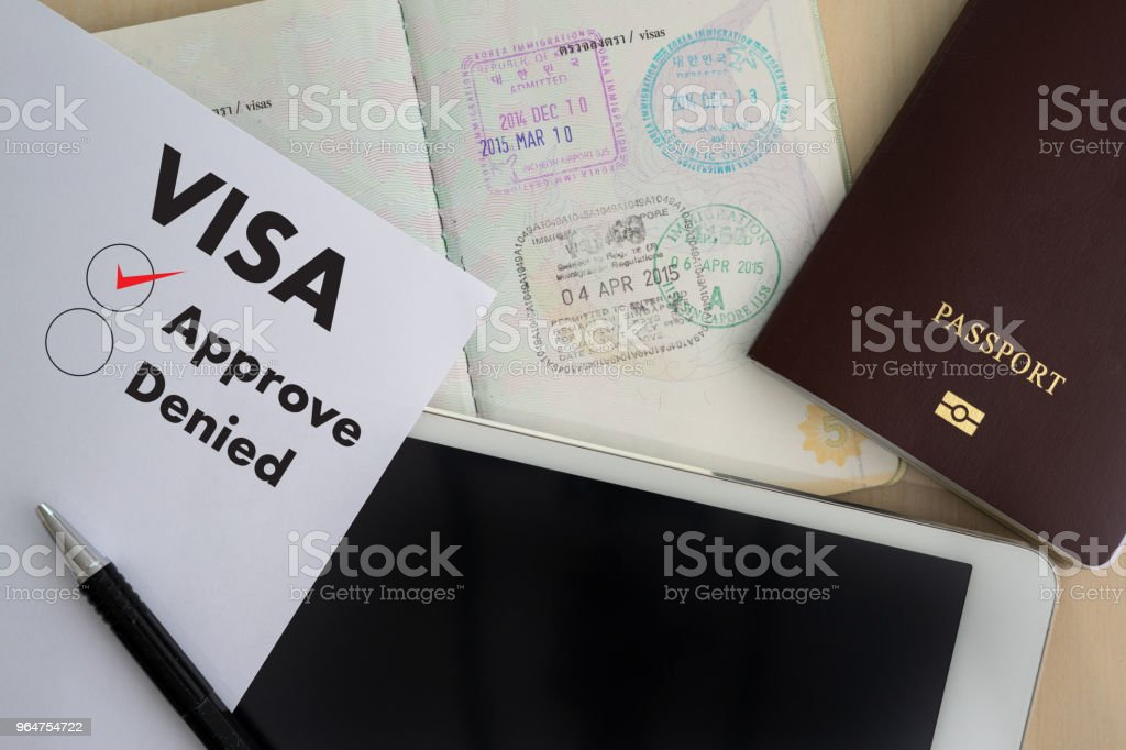 Visa application form to travel Immigration a document Money for Passport Map and travel plan royalty-free stock photo