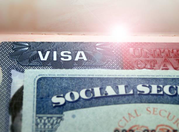 USA visa in international passport an social security number stock photo