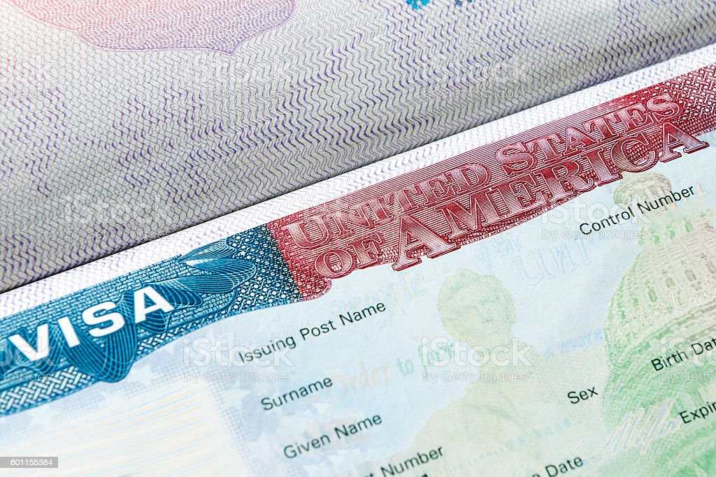 USA visa in passport stock photo