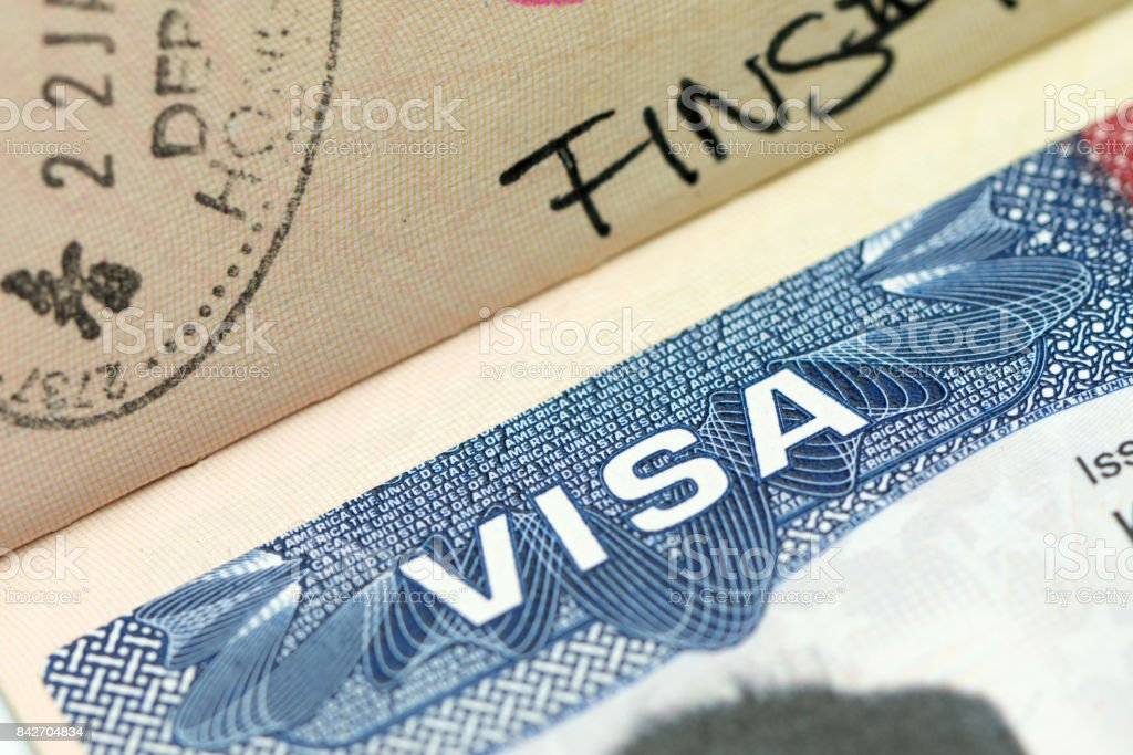 US visa in passport stock photo