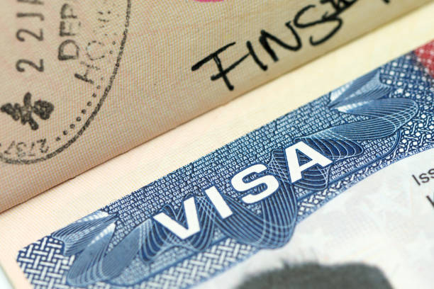 US visa in passport Close up of US visa in passport pasport malaysia stock pictures, royalty-free photos & images