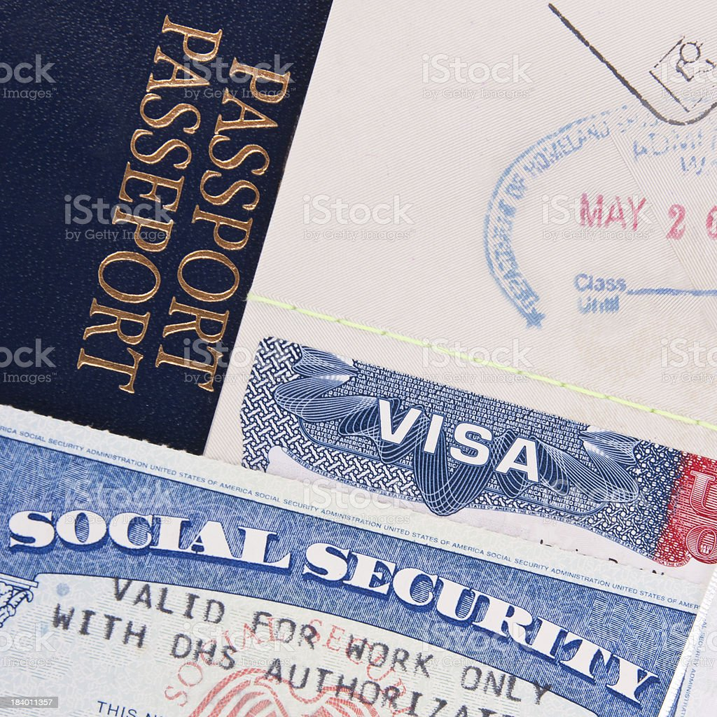 Visa, passport and social security documents for immigration stock photo