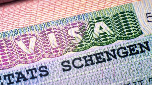 Visa stamp in passport closeup. European visitor visa at border control. Macro view of Schengen visa for tourism and travel in EU. stock photo