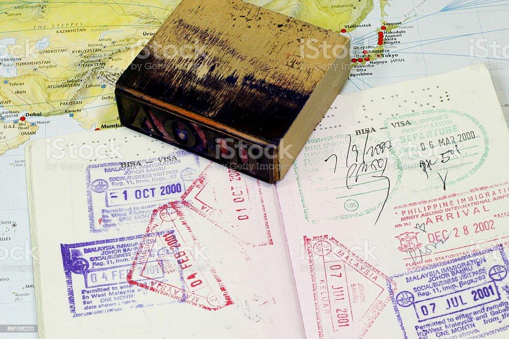 Visa Stamp on Passport stock photo