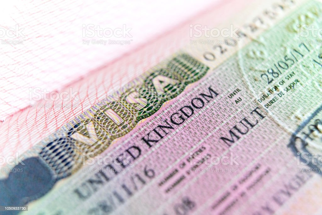 Visa stamp travel passport immigration macro emigration stock photo