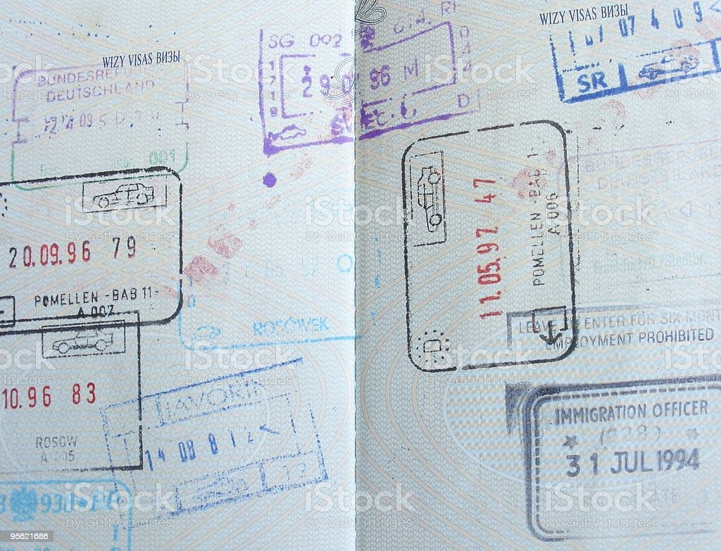 visas in a passport royalty-free stock photo