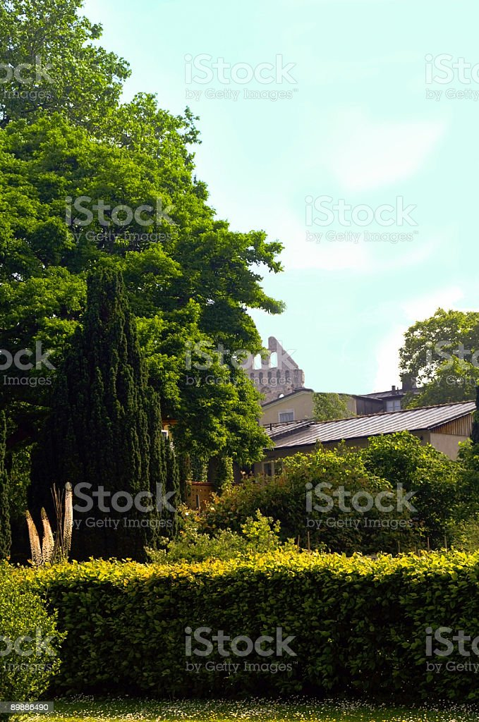 Visby Sweden Gardens royalty-free stock photo