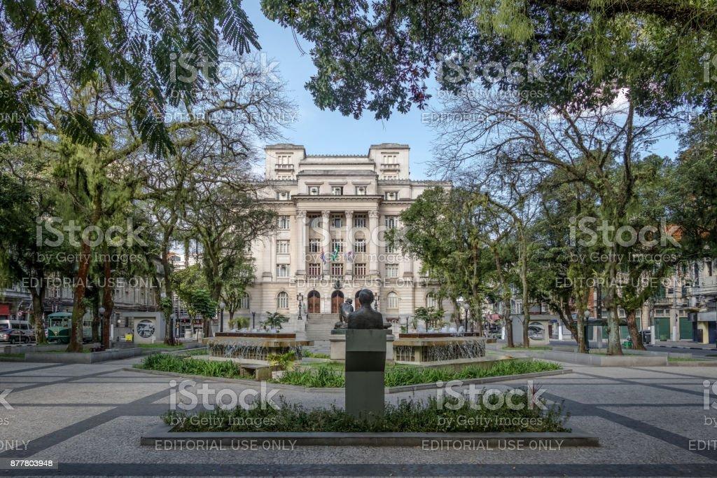 Visconde de Maua Square and Santos City Hall - Santos, Sao Paulo, Brazil stock photo