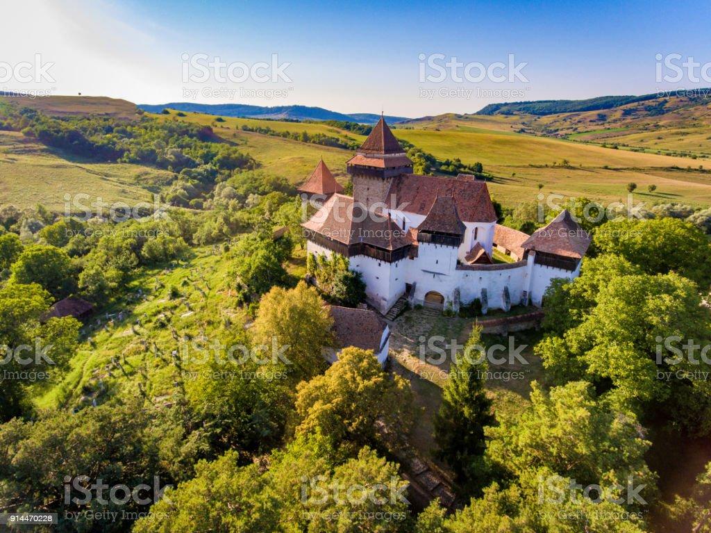 Viscri Church Transylvania Romania stock photo
